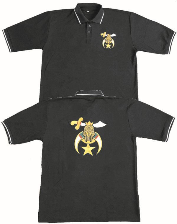 Shriners Pique Polo Embroidered Front and Back (Black)