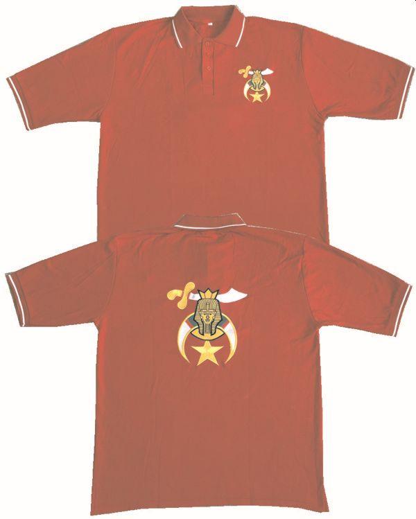 Shrine Shriner Golf Polo Shirt Red New