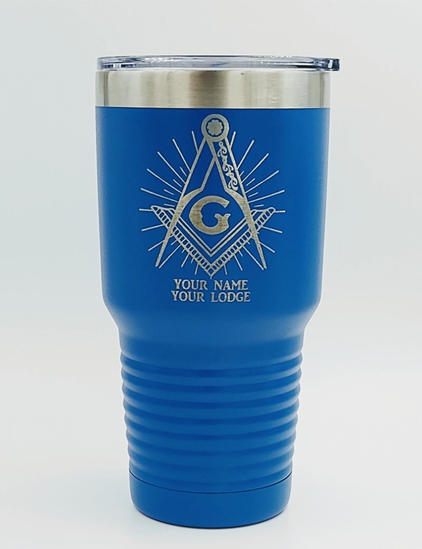 Masonic 30oz. Stainless Steel Travel Cup in Blue