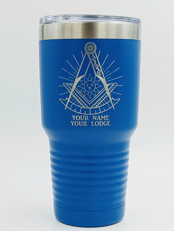 Masonic Past Master 30oz. Stainless Steel Travel Cup in Blue