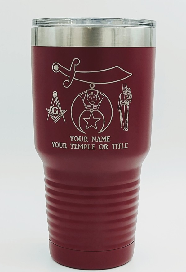 Shriner 30oz. Stainless Steel Travel Cup in Maroon