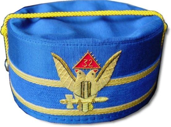 Scottish Rite 32nd Degree Cap Crown Wings Up Blue