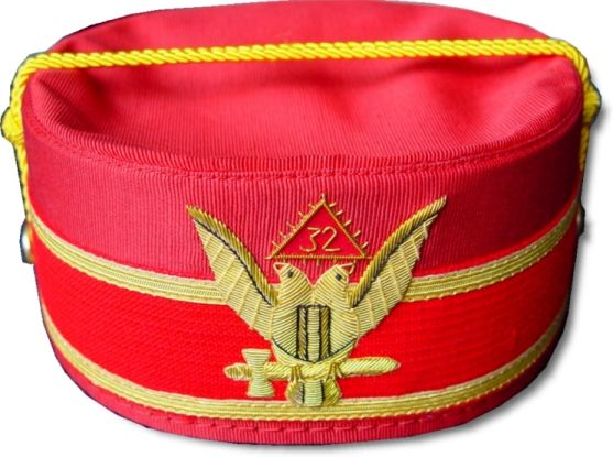 Scottish Rite 32nd Degree Cap Crown Wings Up Red