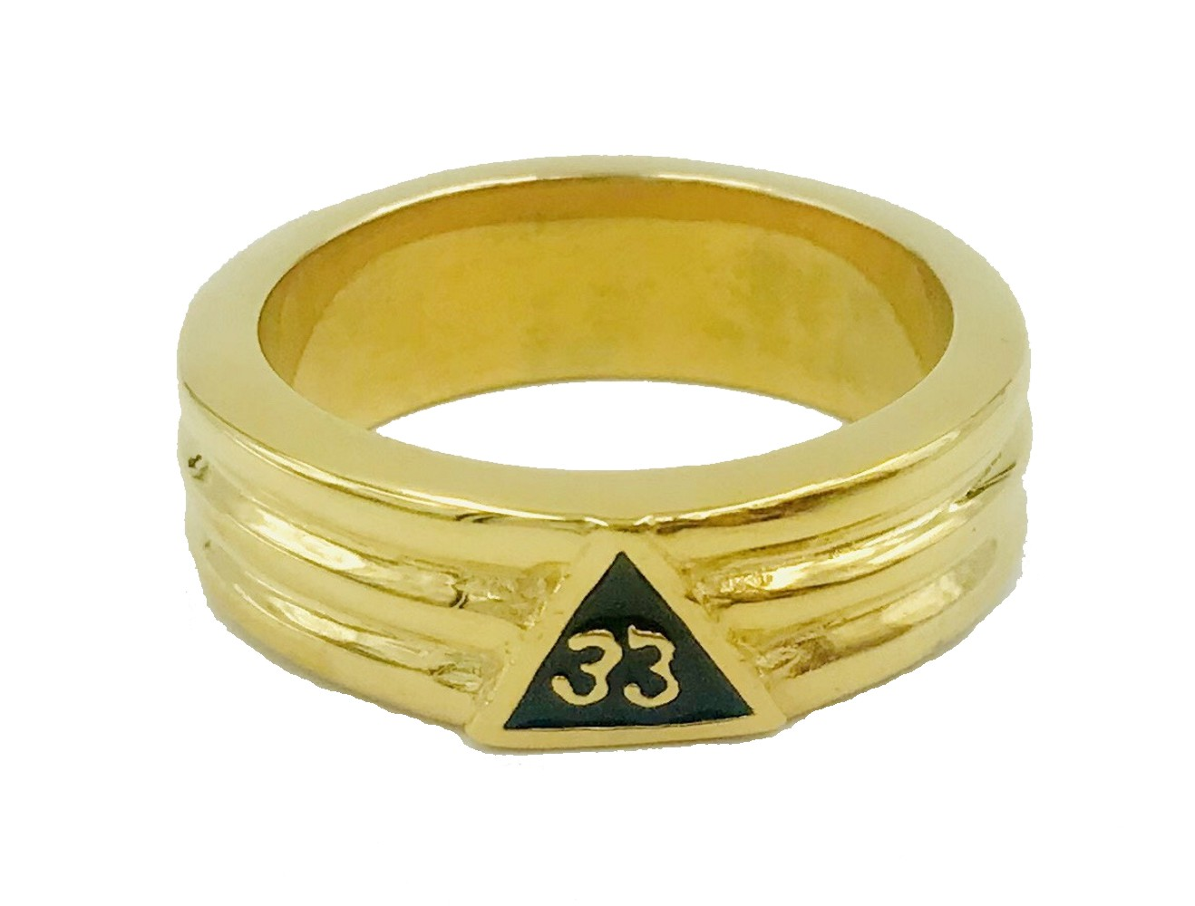 33rd Degree Ring in Stainless Steel Layered in Gold