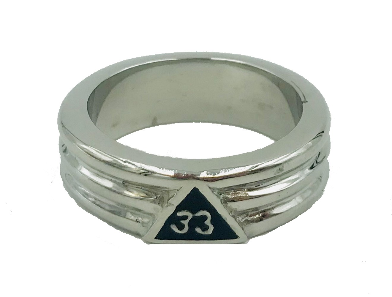33rd Degree Ring in Stainless Steel Layered in Rhodium - Click Image to Close