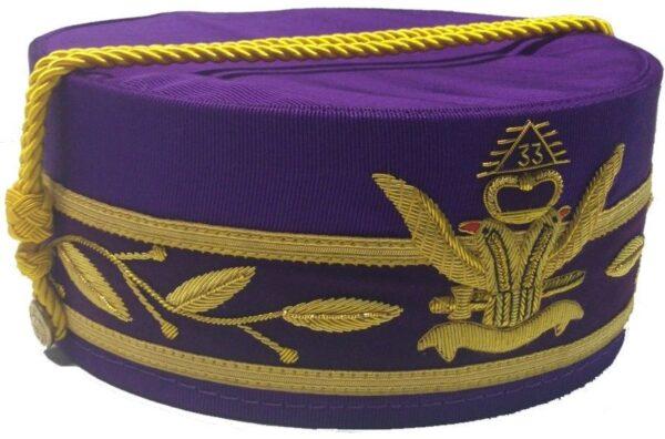 Scottish Rite 33rd Degree Cap Crown Wings Up Purple