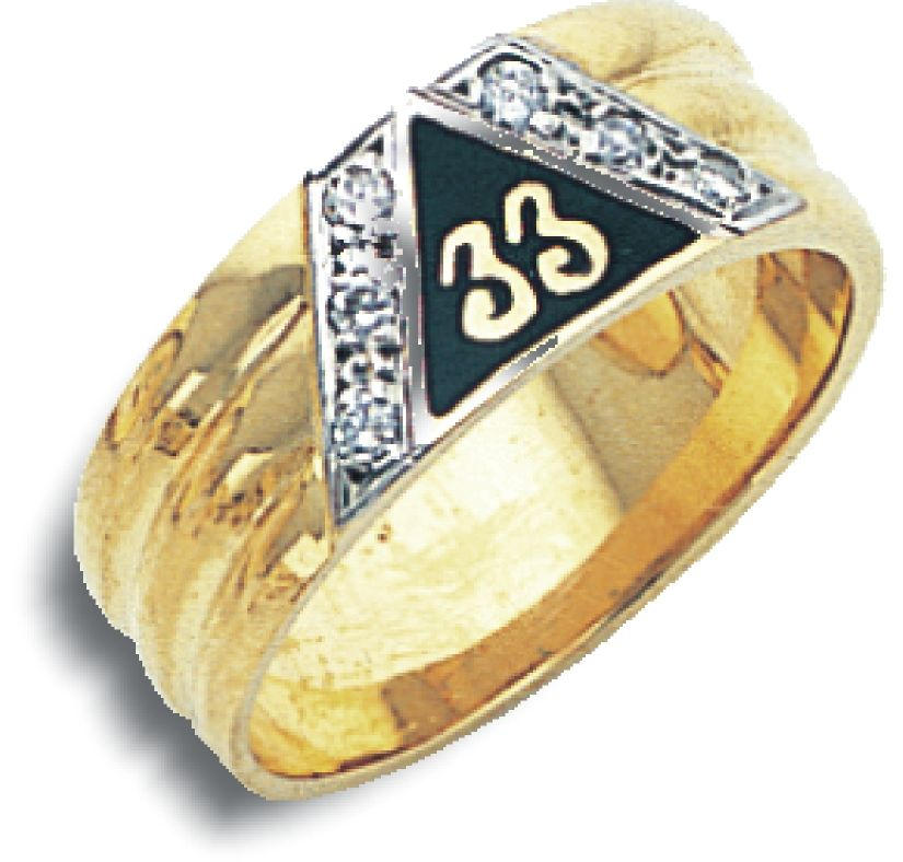 33rd Degree Ring in 14K Yellow Gold with Diamonds