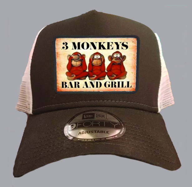 3 Monkeys Bar & Grill Cap in Black & White