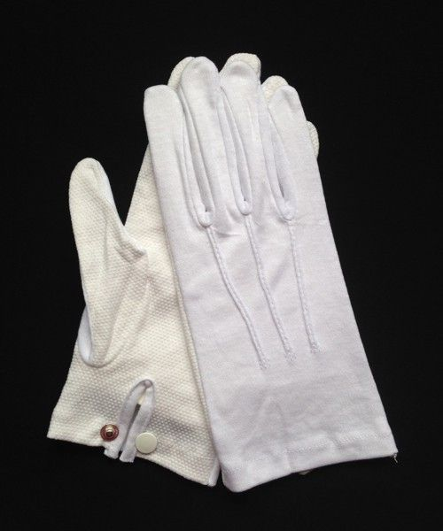 "White Cotton ""Sure Grip"" Snap-Wrist Glove (Dozen)"