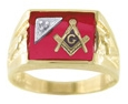 Masonic Ring w/Diamond - Open Back in 10K Gold