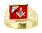 Masonic Ring w/Diamond - Solid Back in 10K Gold