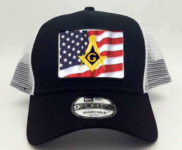 Masonic US Flag Emblem Cap Black New