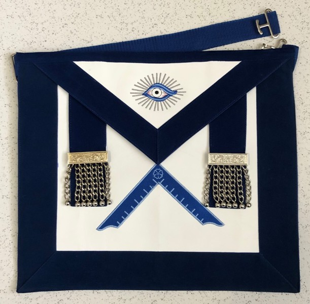 Lodge Officer Apron - Imitation Leather - Velvet Ribbon & Chain Tassels