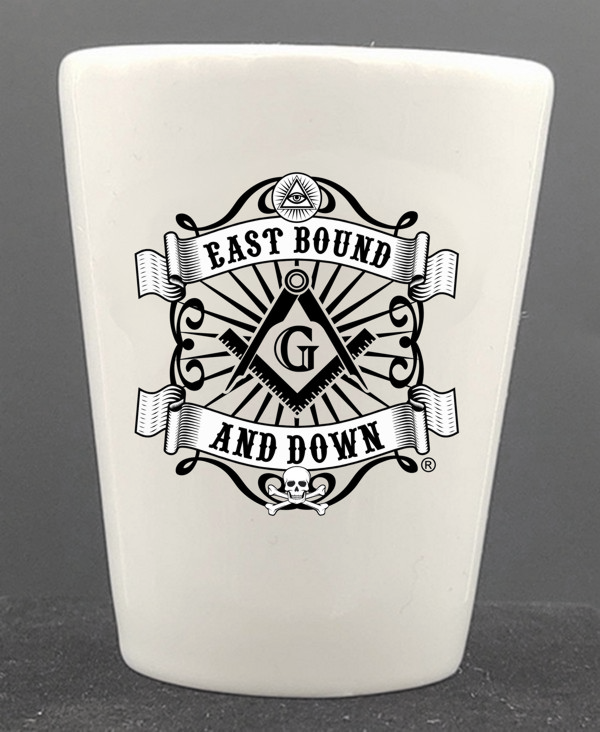 Masonic East Bound & Down® Ceramic Shot Glass