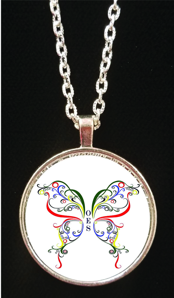 Eastern Star Full Color Butterfly Necklace - Round
