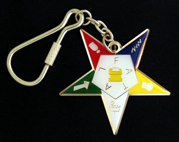 Order of the Eastern Star Key Chain Tag New