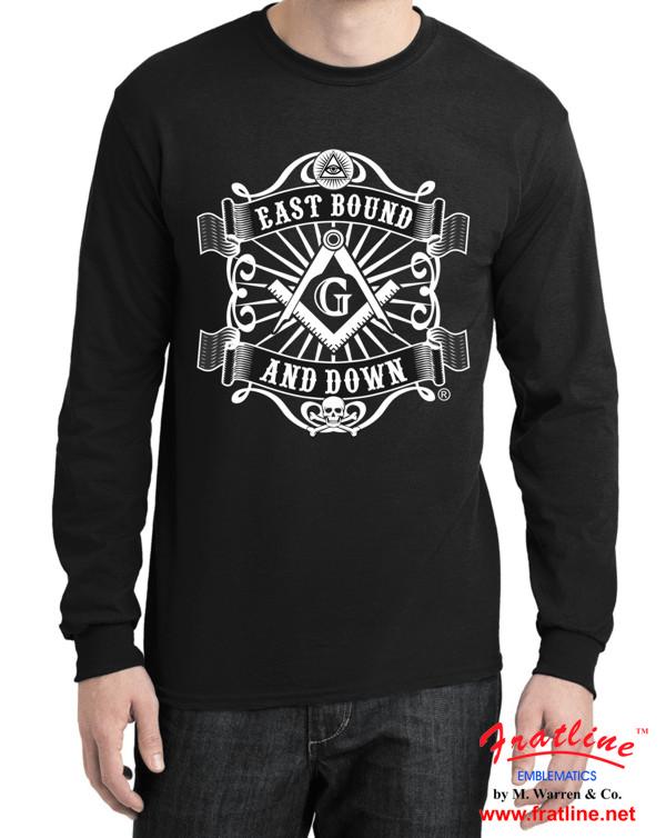 Masonic East Bound and Down Long Sleeve Shirt Black New