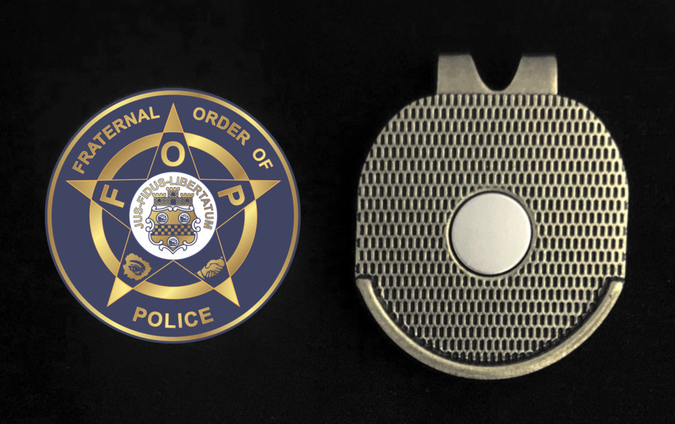 Fraternal ORder of Police Golf Ball Marker With Magnetic Visor Clip