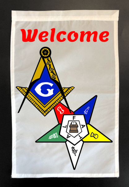"Masonic & Eastern Star ""Welcome"" Garden Flag"
