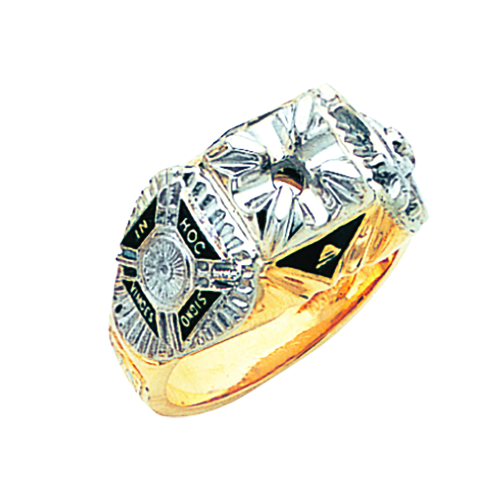 Knights Templar & Shrine Ring - Partial Solid Back in 10K Gold (8)