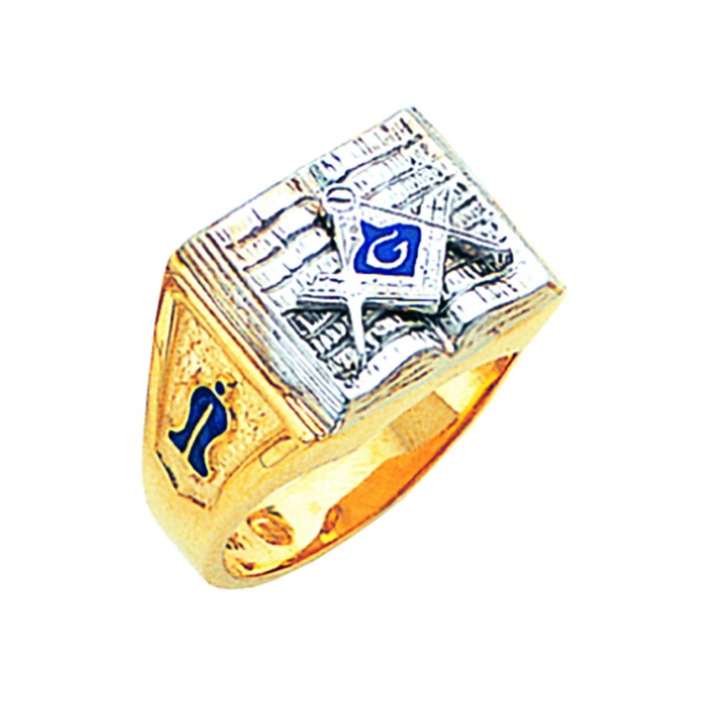 Masonic Ring - Partial Solid Back in 10K Gold