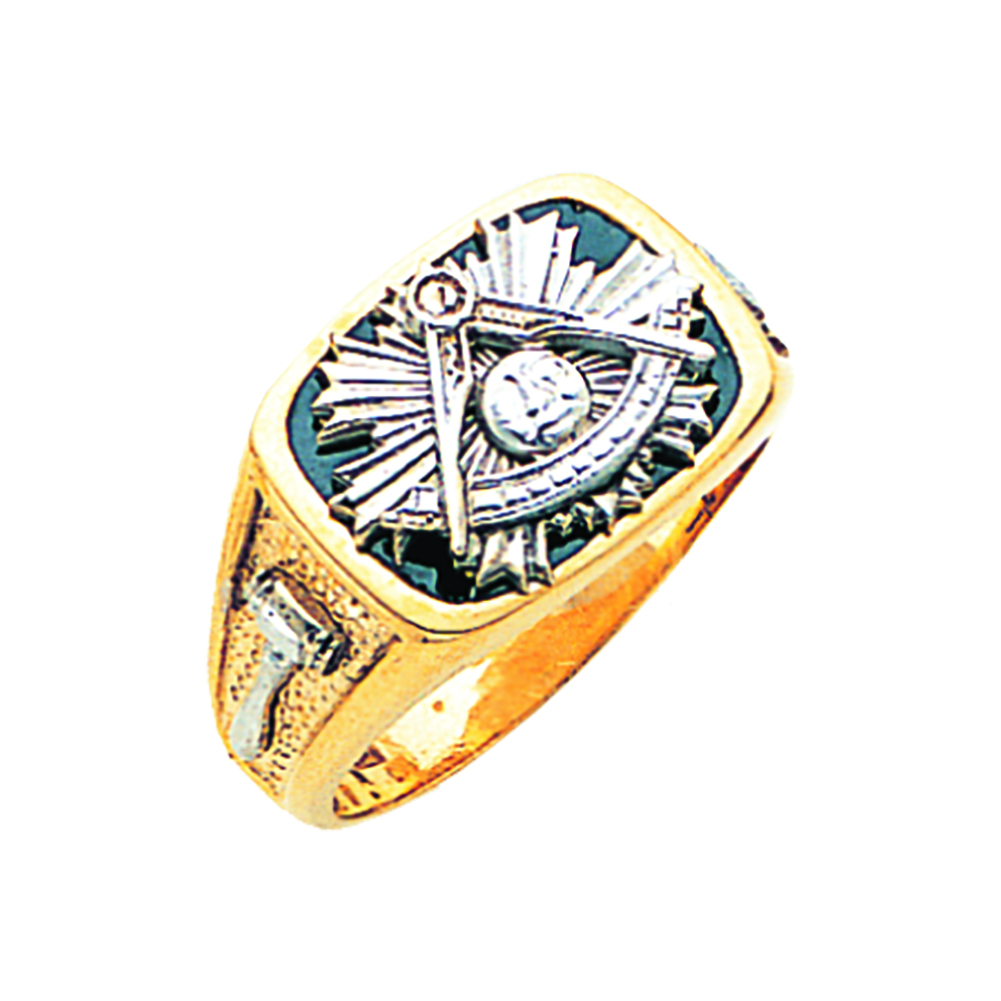 Masonic Past Master Ring - Solid Back in 10K Gold (35)