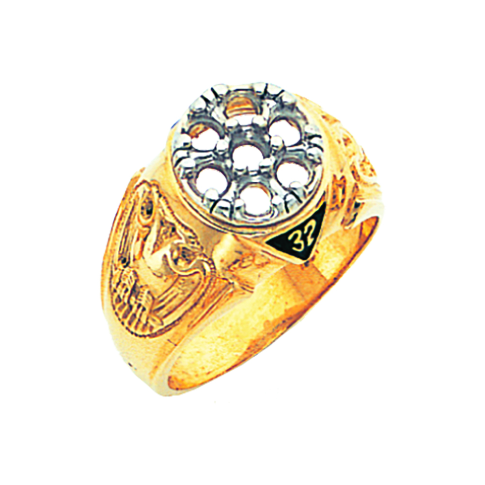 Scottish Rite Ring Mounting - Open Back in 10K Gold (66)