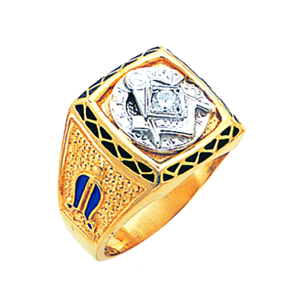 Masonic Ring Mounting - Solid Back in 10K Gold