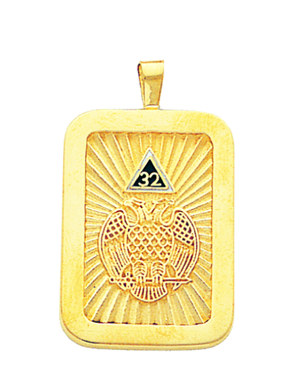 32nd Degree Pendant (Eagle Rectangle) in 10K - Click Image to Close