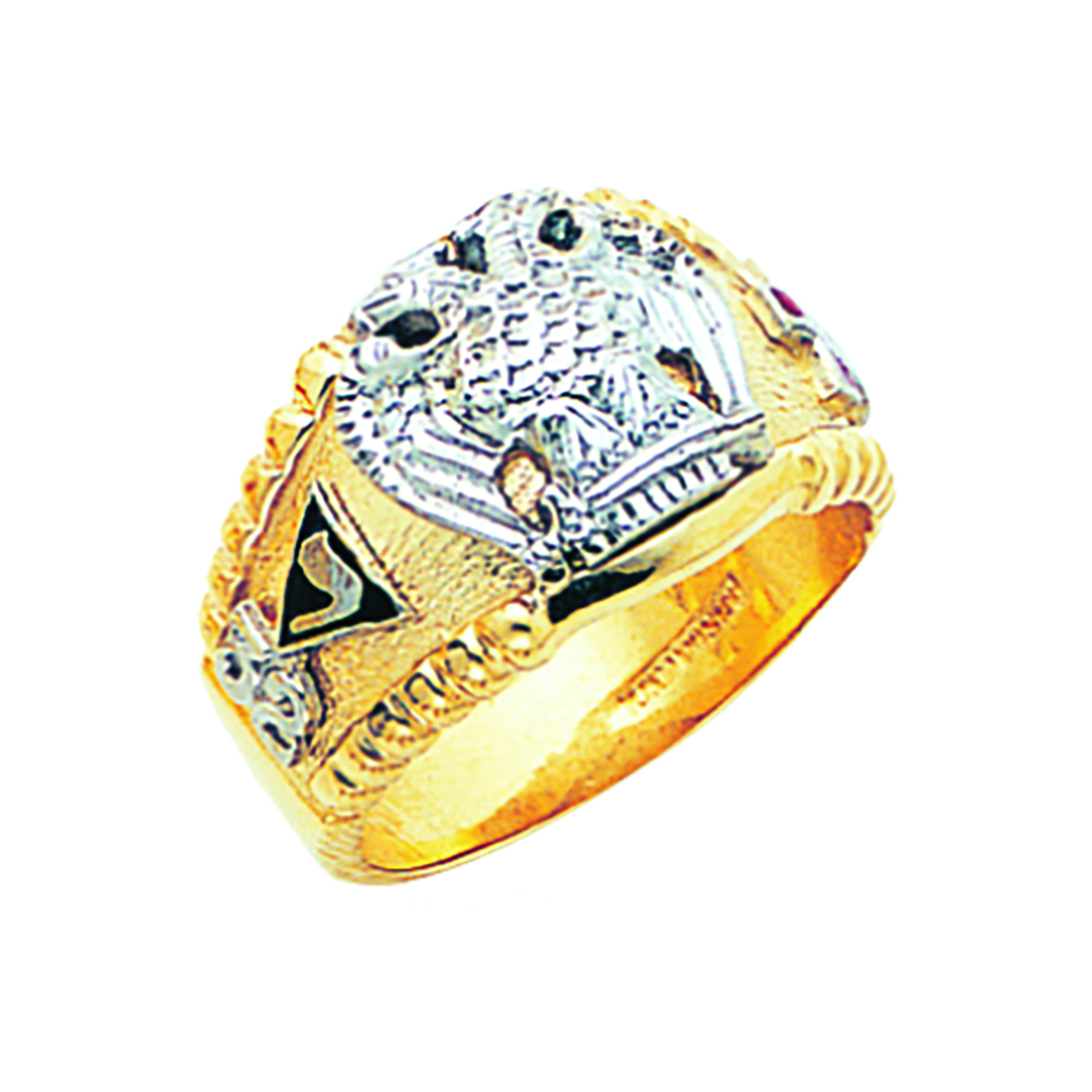Scottish Rite Ring - Concave Back in 10K Gold (55)