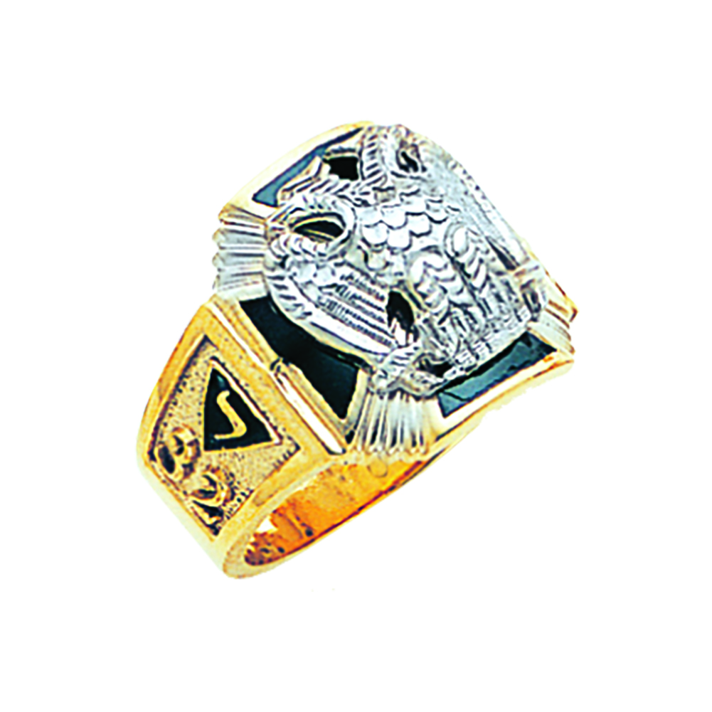 Scottish Rite Ring - Solid Back in 10K Gold (52)