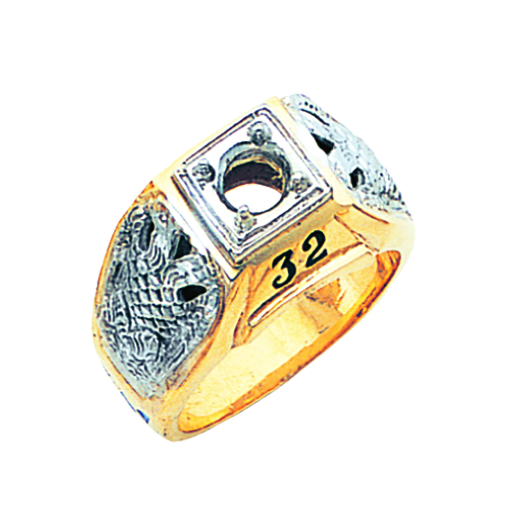 Scottish Rite Solitaire Ring Mounting - Partial Solid Back in 10K Gold (74)