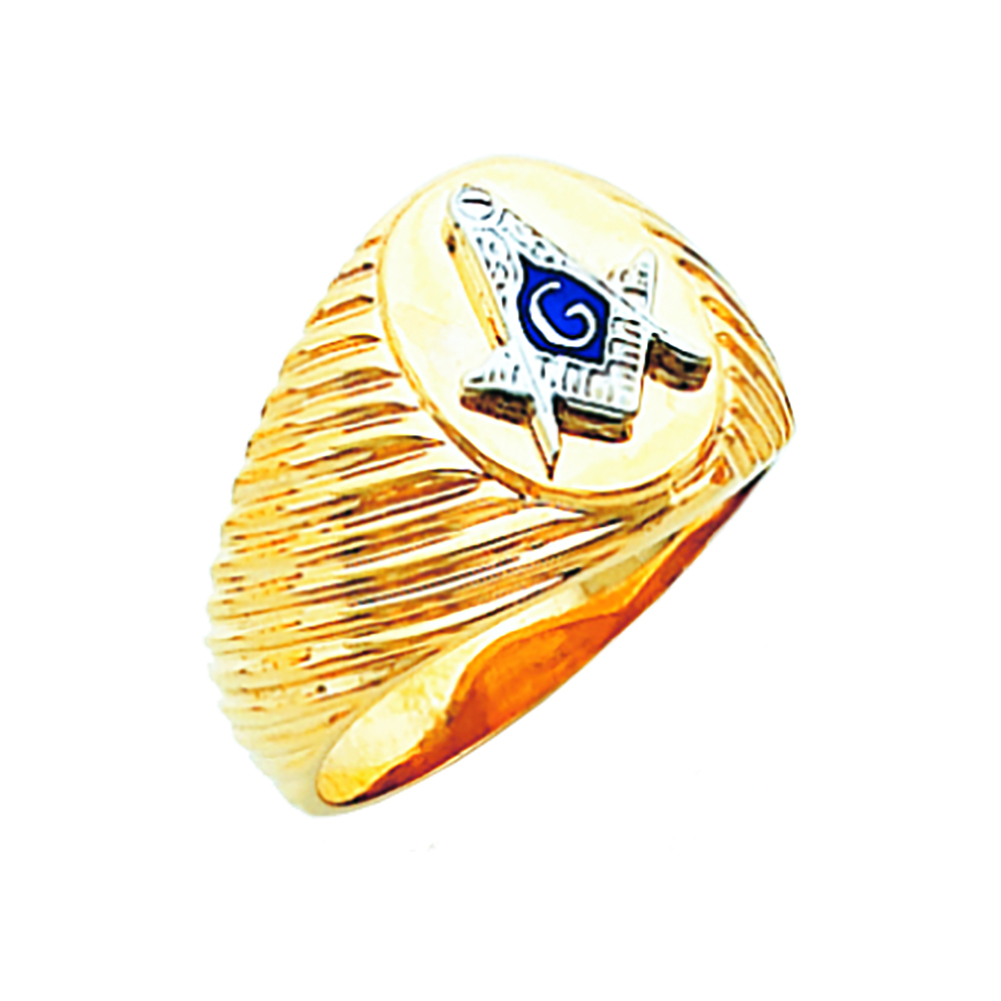 Masonic Ring - Concave Back in 10K Gold