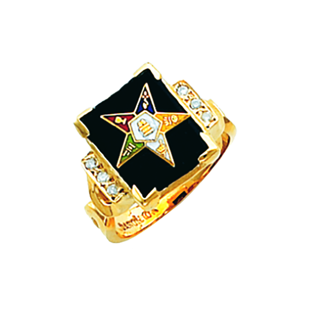Eastern Star Ring w/Diamonds - Onyx Stone in 10K Gold