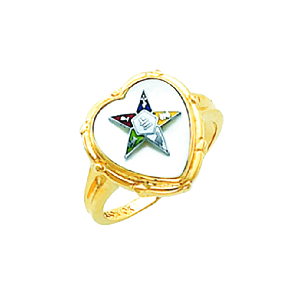 Eastern Star Ring - Mother of Pearl Stone in 10K Gold