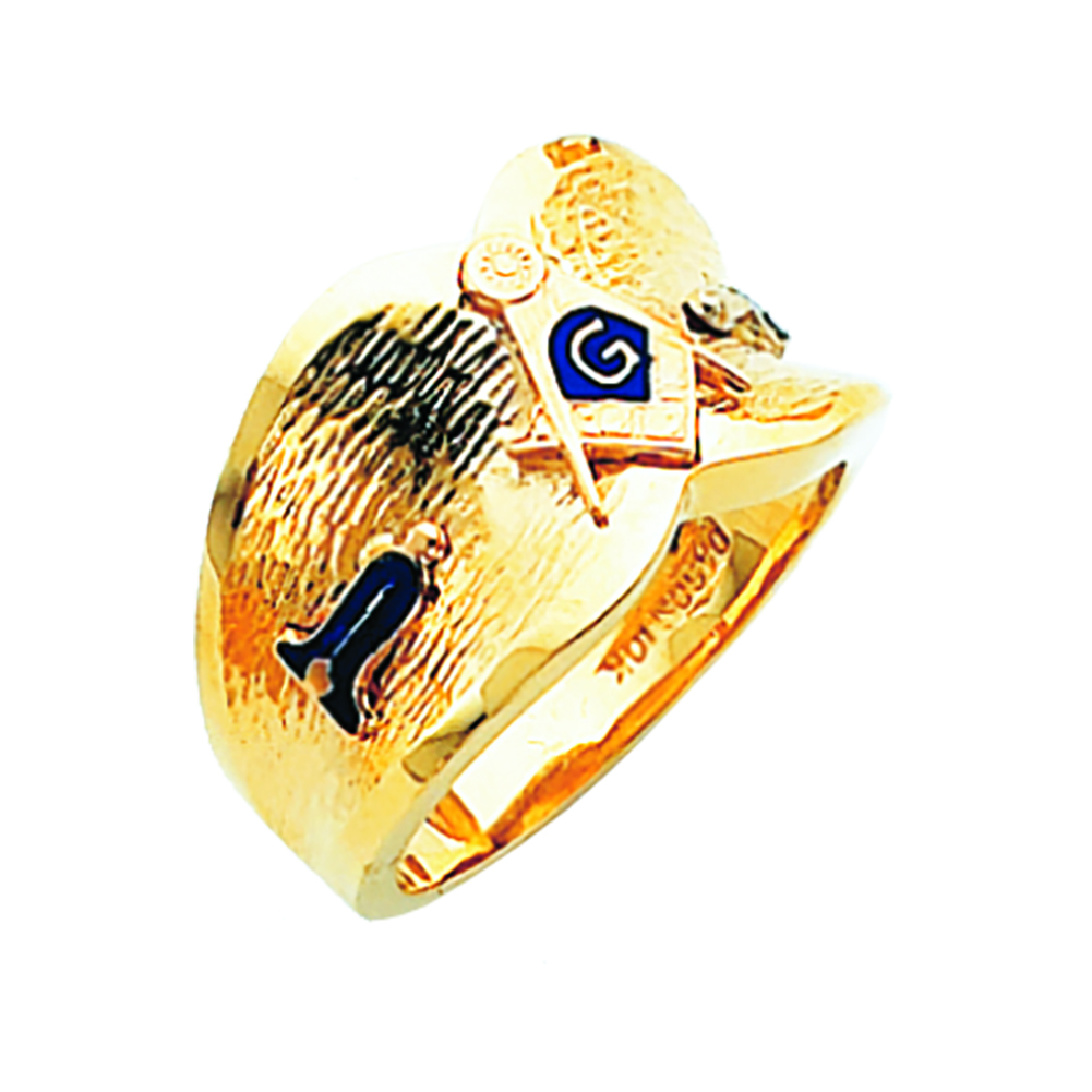 Masonic Ring - Open Back in 10K Gold