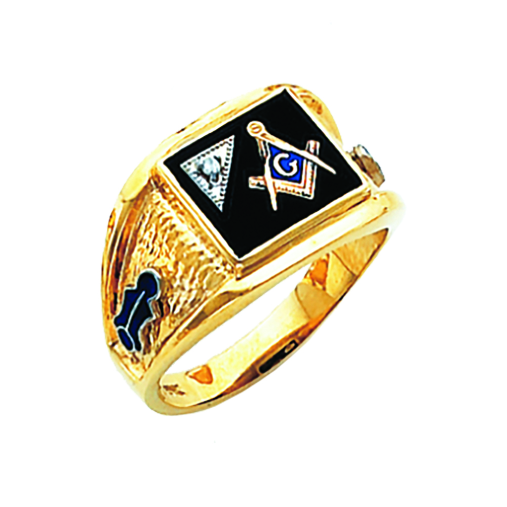 Masonic Ring w/Diamond - Partial Solid Back in 10K Gold