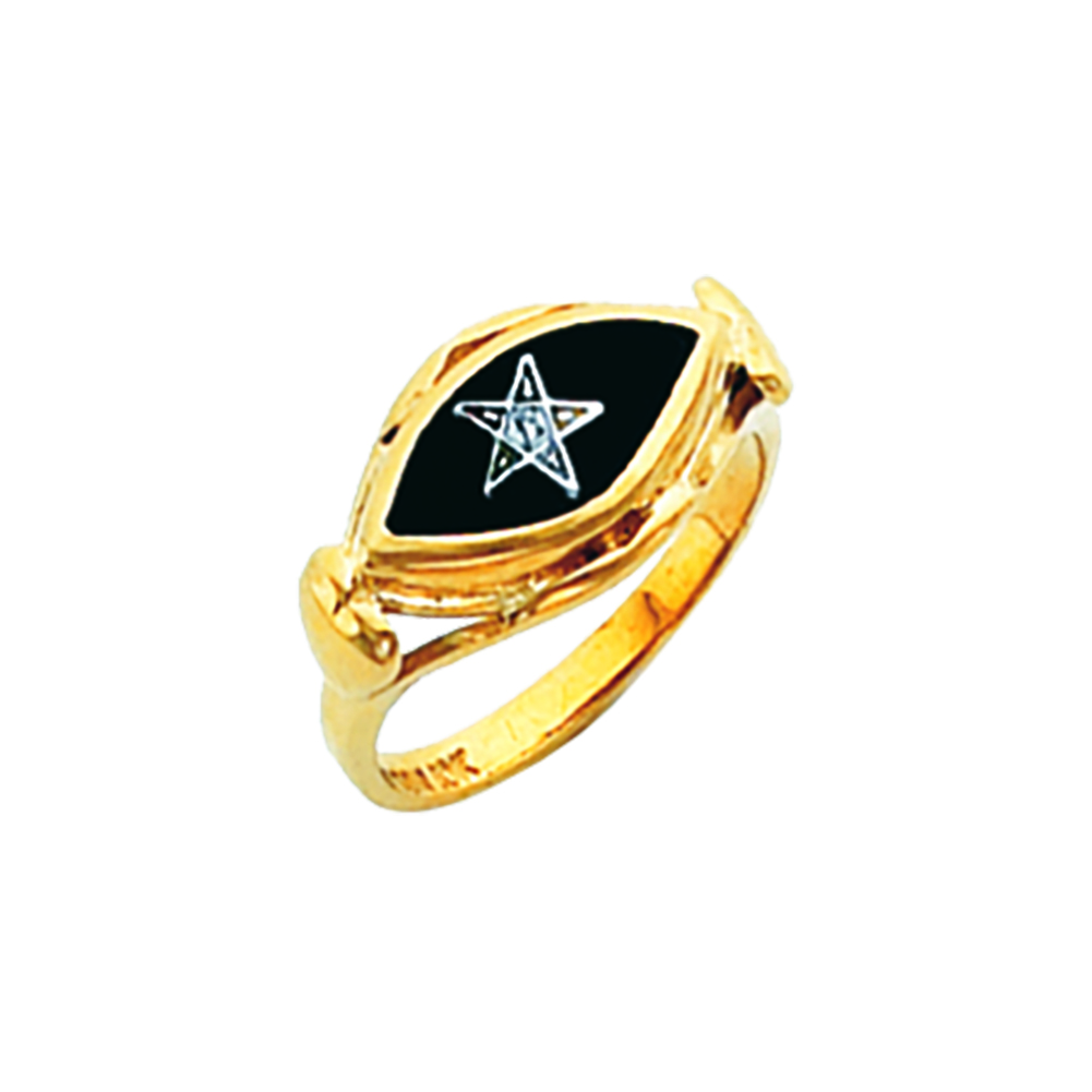 Eastern Star Ring - Onyx Stone in 10K Gold