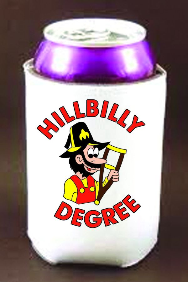 Hillbilly Degree Full Color Can Cooler (White)