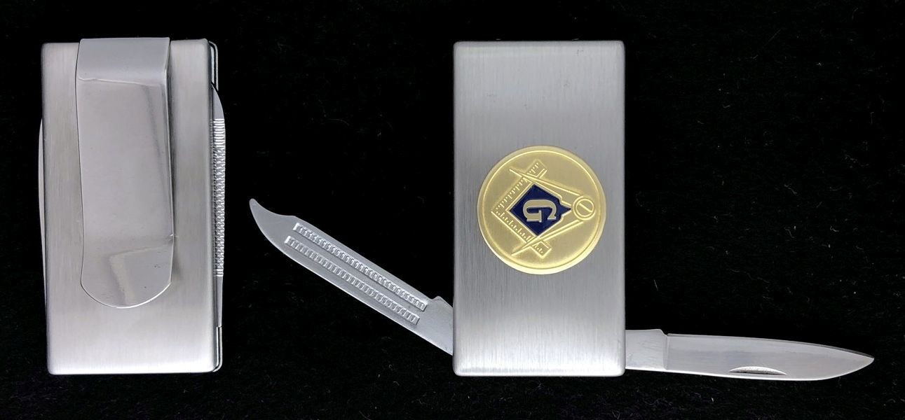 Masonic Emblem Money Clip with Knife & File