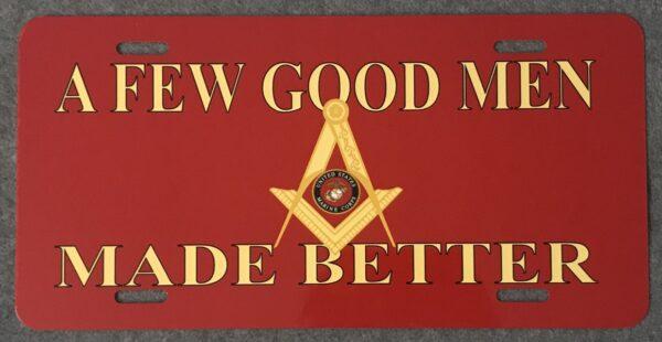 Masonic US Marine Corps Auto Plate New