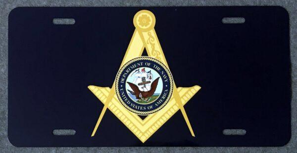 Masonic US Navy Auto Plate New