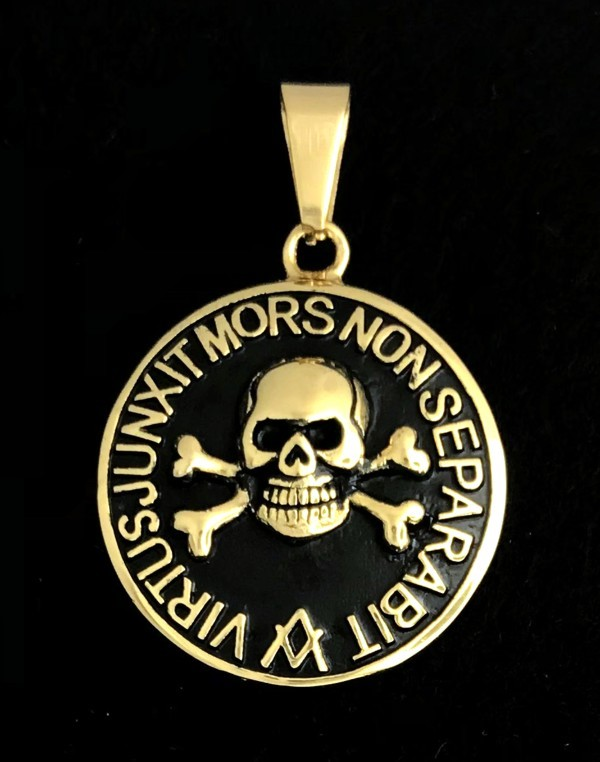 Masonic Skull & Bones Pendant in Stainless Steel (Gold Plated)
