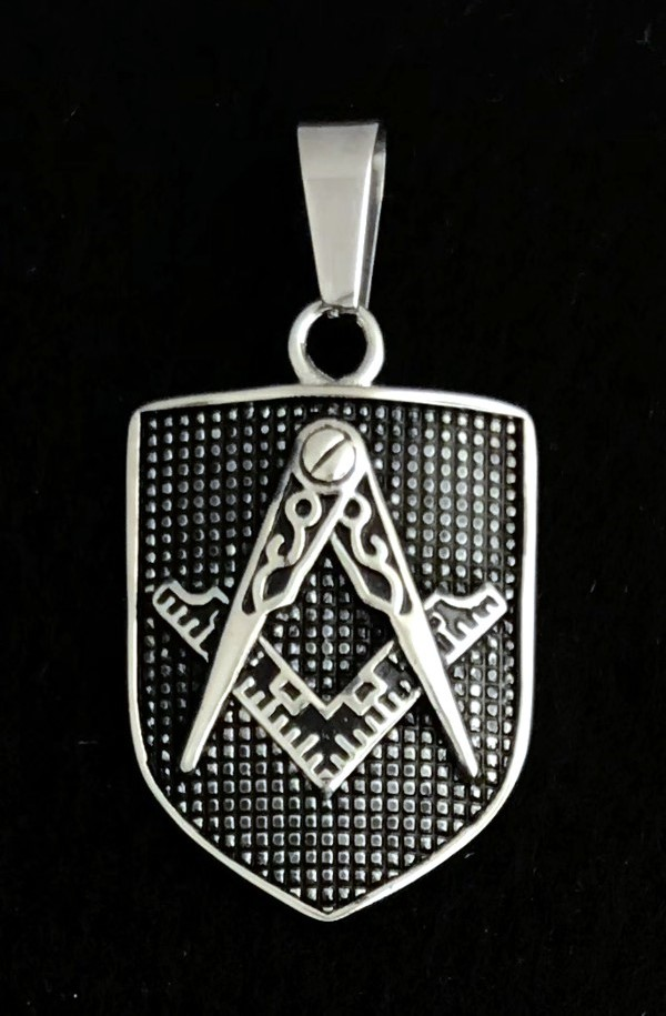 Masonic Shield Pendant in Stainless Steel (Rhodium Plated)