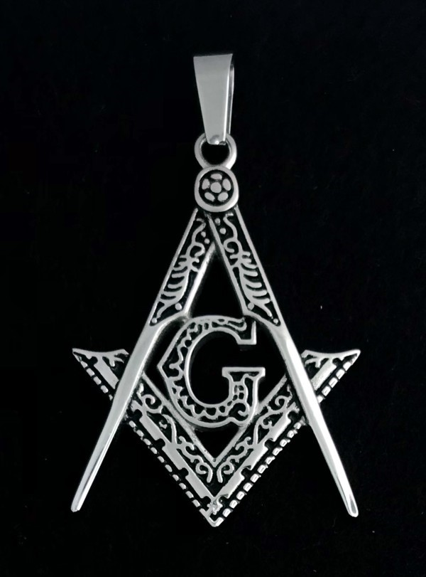 Masonic Emblem Pendant in Stainless Steel (Rhodium Plated)