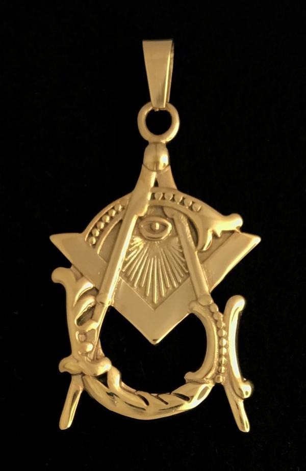 Masonic Vintage Emblem Pendant in Stainless Steel (Gold Plated)