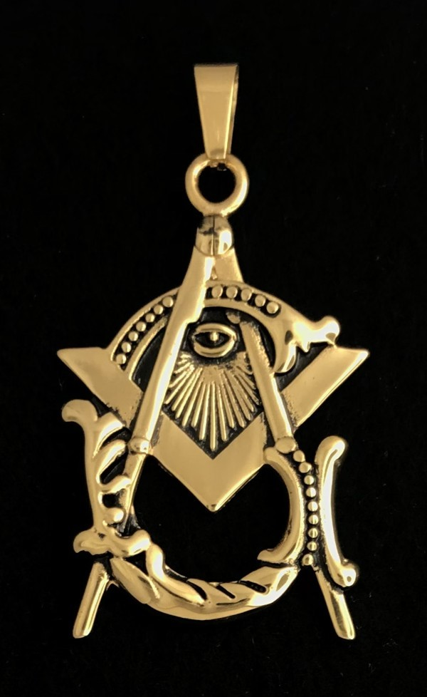 Masonic Vintage Emblem Pendant in Stainless Steel (Antique Gold Plated)