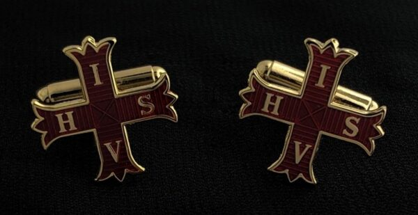 Red Cross of Constantine Cuff Links Gold New