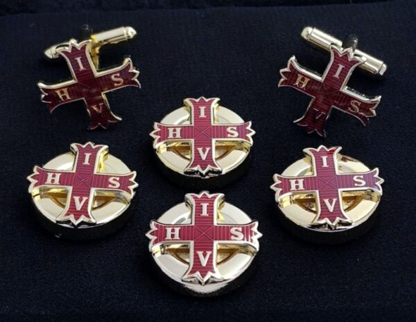 Red Cross of Constantine Button Covers Cuff Links Gold New