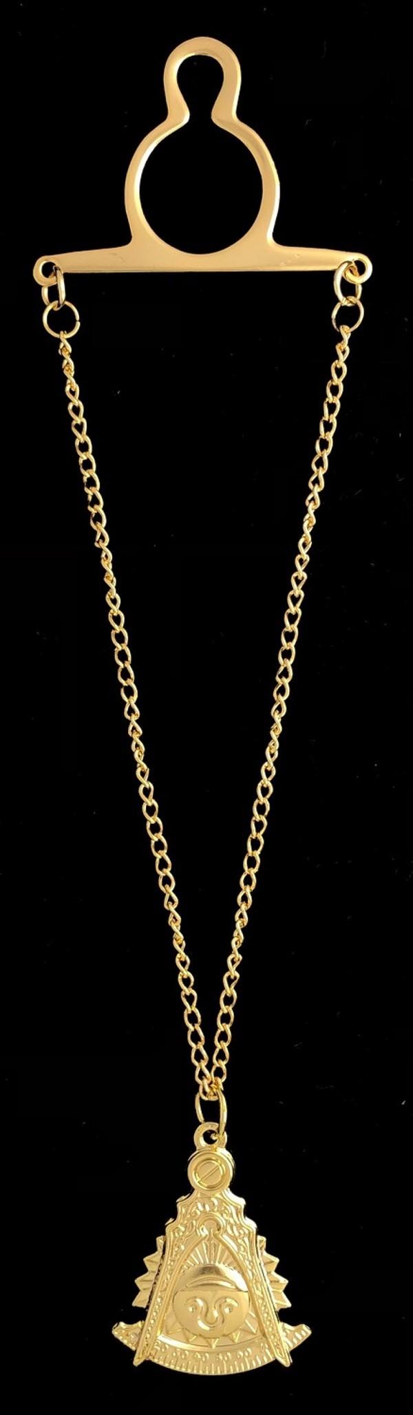 Masonic Past Master Emblem Tie Chain Gold New